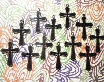 12 Silverplated 25mm Black Enameled Religious Crosses
