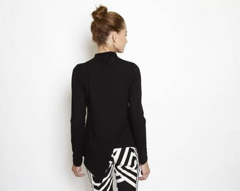Long t shirt, black top, turtle neck shirt, fitted top, long sleeves winter blouse, geometric shirt,envelope t shirt, modern minimal shirt