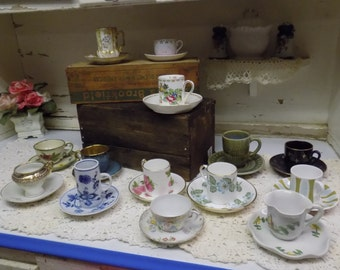 14 Vintage Demitasse Size Small Cup and Saucer Sets Tea Party Vintage China B1325