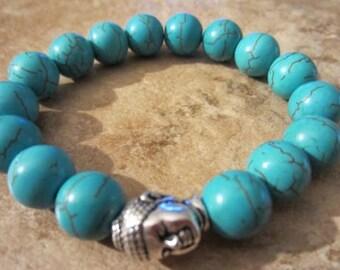 Buddha Statue. Howlite Bracelet. Turquoise Beads. Reiki Healing. Calming Bracelet. Yoga Jewelry. Buddha. Chakra Bracelet.