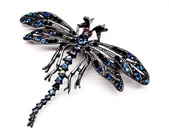 Stunning DRAGONFLY Swarovski Crystal Pewter Brooch