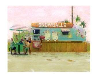 Snowball Stand, Biloxi Beach, Whimsical Beach Print, Vintage Hippie Trailer, Colorful Happy Art, Coastal Print 8x10 11x14 16x20 - Korpita