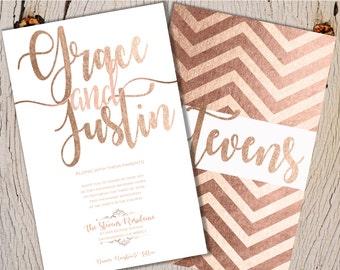 Blush Gold Wedding Invitations, Rose Gold Wedding Invitations, Gold Glitter Wedding Invitation, Wedding Invitations, Foil Wedding Invitation