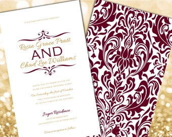 Burgundy and Gold Wedding Invitations, Gold Wedding Invitation, Wedding Invitation, Gold Glitter Wedding Invitations, Glitter Invitations