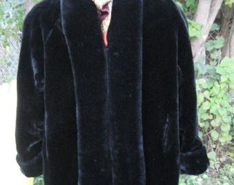 SALE Vintage 80s doing 1950s style , Super soft Shine Velvety Faux fur Black women's winter coat  SIZE XL Monterey Fashions Usa