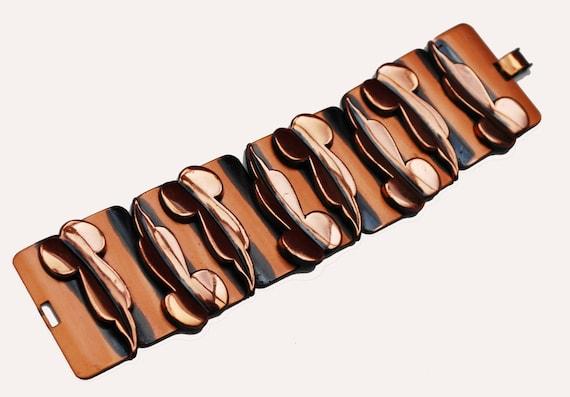 Copper Panel link Bracelet - Mod Leaf   - Signed Renoir- Mid Century- Modernistic -Bangle