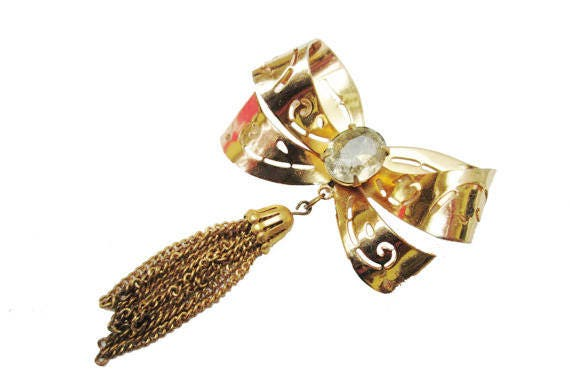 Gold Bow Brooch - Signed Coro - Rhinestone - Golden tassel
