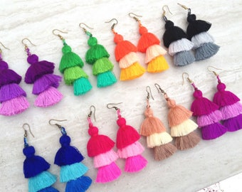 Wholesale Tassel Stack Earrings Festival Tassel Earrings Neon Tassle Earings BOHO Earrings Gypsy Tassle Jewelry Trending Jewelry 50 Pairs