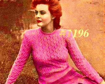 Almost FREE Vintage Janine's Lace Blouse in Long or Short Sleeves #1196 PDF Digital Knit Pattern