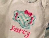 Personalized Elephant Baby Girl Onesie