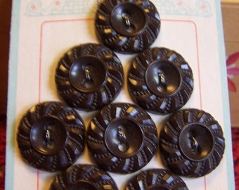 "Vintage 3/4"" Dark Chocolate Brown Textured Buttons, Set of 8 (1513)"