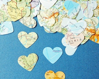 "200-600 1"" Paper Map Hearts - Wedding Confetti, Party Table , Bon Voyage, Travel Decoration"