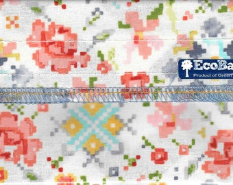EcoBagIt! CROSS STITCH BLOOMS - Keep Fresh Reusable Snack Bag