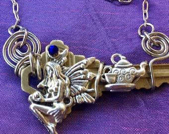 Fairy Tea Party Necklace, Fairy Key, Key Necklace, Magical Key, Fairy Necklace