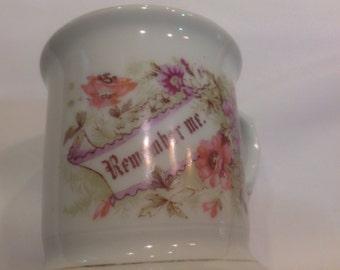 "Beautiful Antique China ""Remember Me"" Mug with Floral Motif"