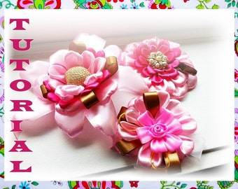 Guinevere, Cordelia and Daily Passion - 3 Flowers Tutorials- Ribbon/ Fabric Flowers-28 pages