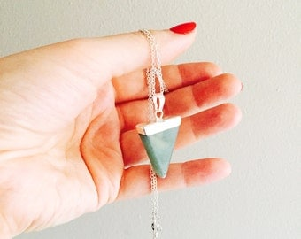 Green aventurine triangle crystal necklace on a sterling silver chain.