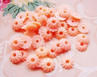 Vintage Opaque Pink Ribbed Flower Spacer Bead Cabochon 8mm - 10