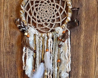 Dreamcatcher, Dream Catcher, Boho Wall Décor Hanging, Bohemian, Feather, Crochet Doily, Gift, Nature Theme, Nursery, Native American