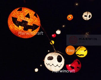20 String Lights Halloween Ghost Fairy Lights Bedroom Home Decor Living Room Wall Hanging Lights Wedding Decor Dorm Lights Battery & Plug