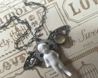 A Passage In Time A Frozen Charlotte Doll Pendant Necklace Handmade Original Design Mixed Media Pendant Antique Doll Jewelry Doll Necklace