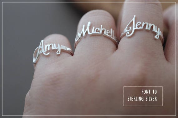 20% off // Font 10// Personalized name ring- Any name- Any size- Any colors - Gift box included.X'mas- bridesmaid- Valentine gift.