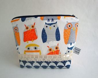 Cotton fabric  wash bag - toiletry bag - teen girls  -  handmade   - gift - women - funky  owl   wash bag - spring wash bag