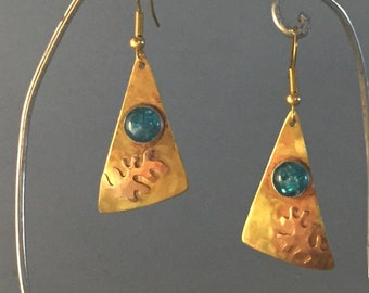 Shimmering Brass  Alá Matisse Earrings with pink synthetic opals
