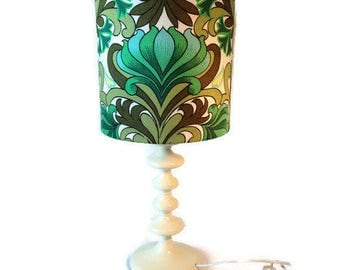 White retro lamp base with vintage 70s fabric shade