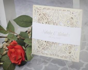 Laser Cut Wedding Invitations - Luxurious Wedding Invitations -  Neutral Wedding Invitations - Elegant Wedding Invitations - Wedding Invites