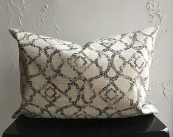 Gray Decorative Pillow Cover, 14x20 Lumbar Distressed Marrakesh Design, Trellis Lattice Pillow, Charcoal Gray