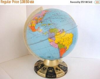 SALE Vintage Globe Zodiac base Ohio Art  1950s Industrial decor by metrocottage