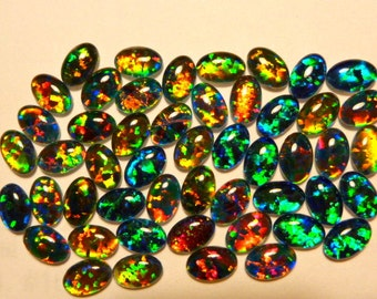Synthetic Loose Triplet Opal Stones Parcel lot of 6x4mm Oval 50 pieces. item 110461.