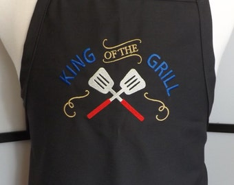 Mens BBQ Grillin Embroidered Apron