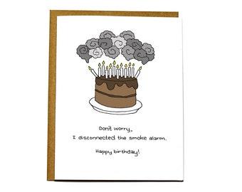 Funny Happy birthday candles card, smoke alarm