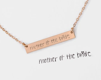 Custom Handwriting Necklace, Signature Necklace, Rose Gold Bar Necklace, Gift Ideas, Remembrance Necklace, Signature Bar Jewelry