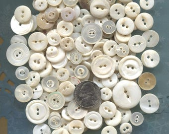 275 Vintage White Mother of Pearl Buttons-Item# 371