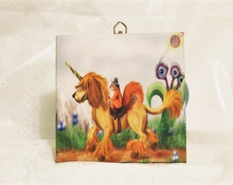 Dogicorn (dog unicorn)  Wall Tile, Dog Lover Art, Dog Lover Gift, Unicorn, home decor, Kitchen Tile