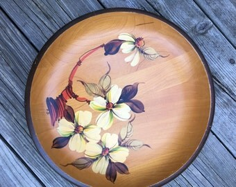Hand Painted Canadian Wooden Bowl/ Platter With Raised Foot Hand Painted in Canada Vintage Great Painting Rich Wood Yellow Flowers Red Stalk