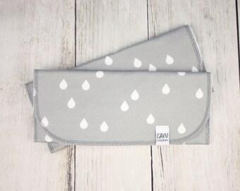 Organic Burp Cloth Set of 2 - Organic Cotton Burpie in Designer Rain Drops Print - White and Gray Raindrops - READY TO SHIP!