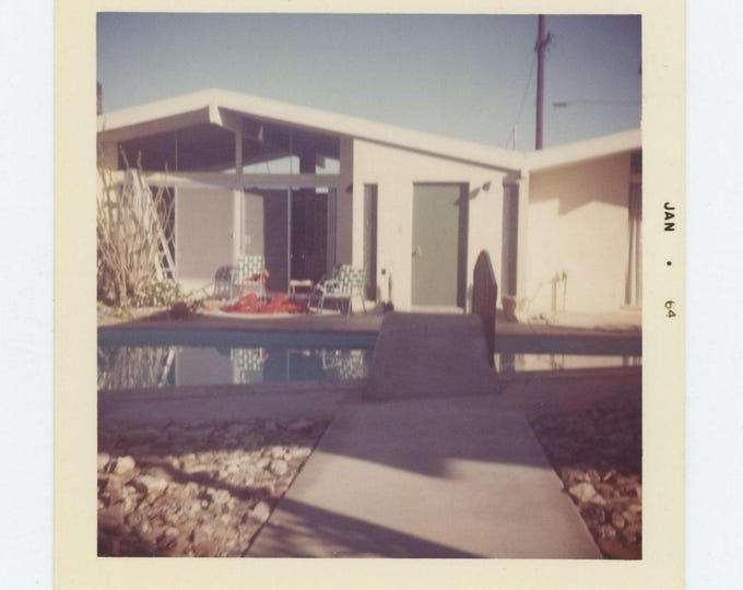 Vintage Snapshot Photo: Backyard Pool, 1964 (73556)