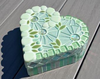 Mint green glass mosaic heart shaped box