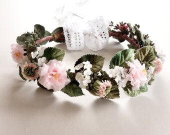 Pink Flower Crown, Bridal Flower Crown, Flower Crown, Spring Wedding, Floral Headpiece, Head Wreath, Pink Wedding, Bridal Hairpiece