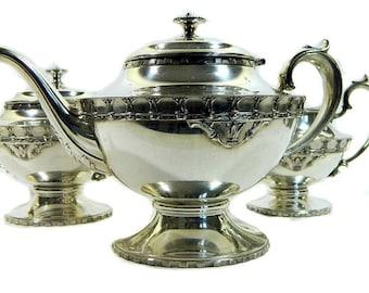 Antique Knickerbocker Silver Co. Three Piece Silverplate Tea Set