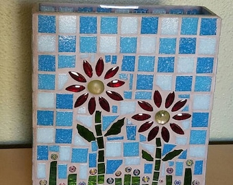 Mosaic Flowered Square Glass Vase