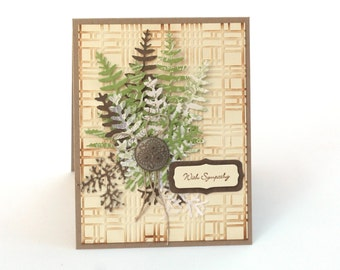 Fern Sympathy card, nature inspired, thinking of you, with sympathy blank card