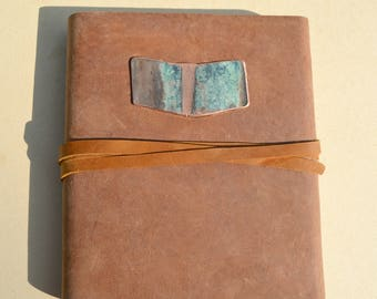 Distressed Leather Bound Journal Handmade Brown Cowhide Notebook Diary with Copper Turquoise Chevron Art Sketchbook Graduation Gift (639)