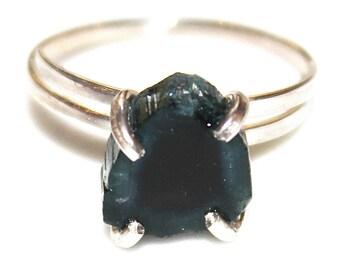 Blue Watermelon Tourmaline Raw Stone Ring Blue Tourmaline Ring Adjustable Ring Natural Stone Ring Blue Tourmaline Jewelry Dainty Crystal