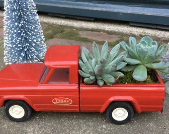 Vintage Red Tonka Pickup Truck Succulent Planter