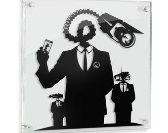 Hello - original silhouette hand cut paper craft // handmade framed wall artwork